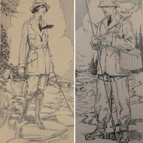 Man and woman in historic Abercrombie & Fitch camping and fishing outfits