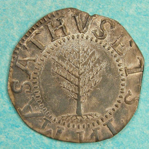 A pine tree shilling coin from the Massachusetts Bay colony