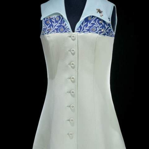 "White and blue tennis Dress, worn by Bille Jean King during the ""Battle of the Sexes"""