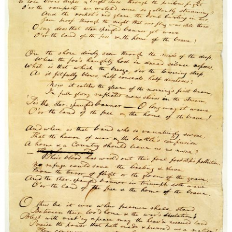 Handwritten manuscript by Francis Scott Key, on yellowed paper