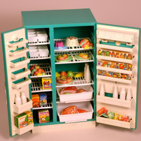 Suzy Homemaker children's toy from 1950s-1960s, turquoise, with fake food inside
