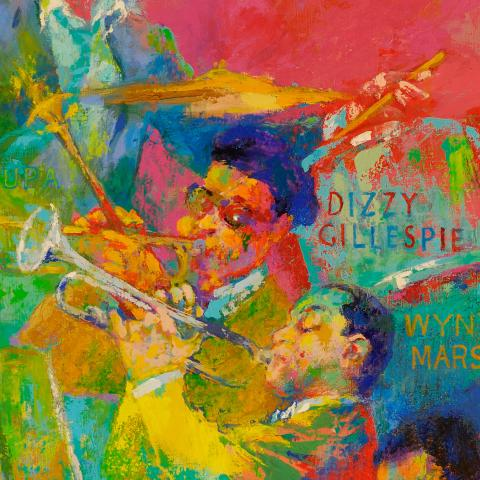 "Detail crop of Neiman's ""Big Band"" painting"