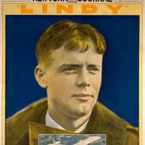 New York Journal cover with Lindy's face and plane