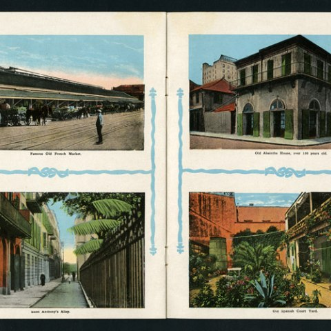 Composite of four images, all showing streets and buildings in New Orleans