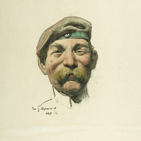 An illustration of a head of a man. He has a floppy cap on with a green ribbon and a large mustache and appears to be smiling.