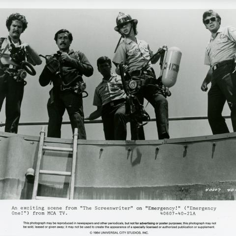 """Photo from a scene in the television show """"EMERGENCY!"""" with five actors"""
