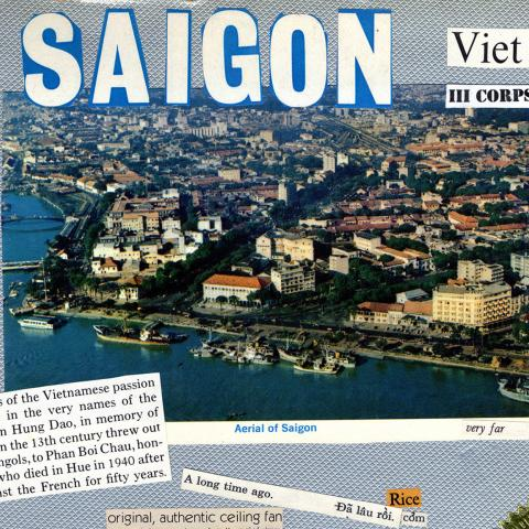 Detail from scrapbook with photo of Saigon and clips of text