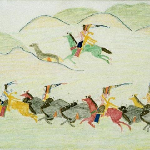 Drawing of buffalo hunting