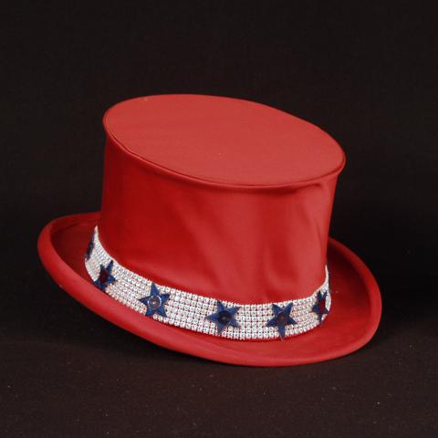 Bright red silk top hat, decorated with a silver band and blue stars