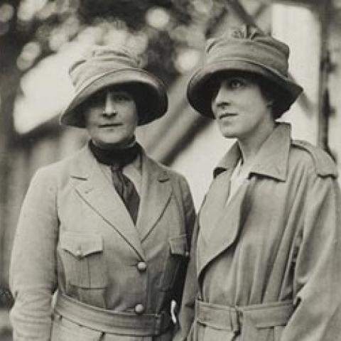 Two women wearing hats in WWI photo
