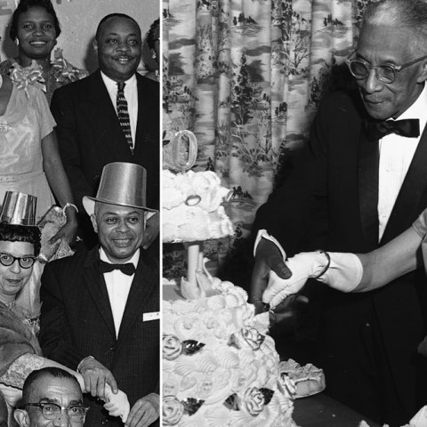 Two black-and-white photos of anniversary celebrations