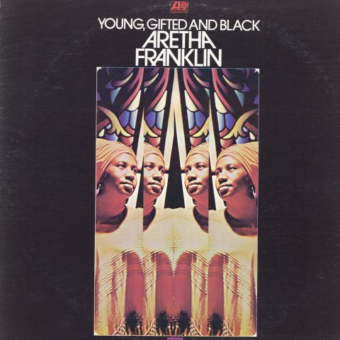 Photo of album cover featuring Aretha Franklin shown in four reflections with stained glass background