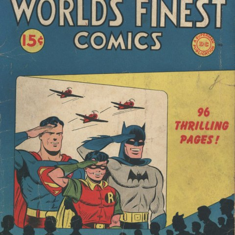 (Detail) Illustrated comic book cover with three planes and Superman, Batman, Robin saluting and smiling.