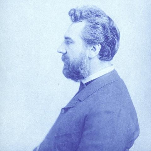 Side portrait of Bell, blue tinted