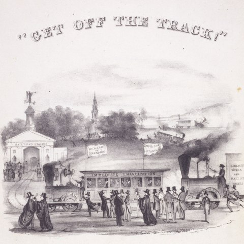 Sheet music cover, 'Get off the track!'
