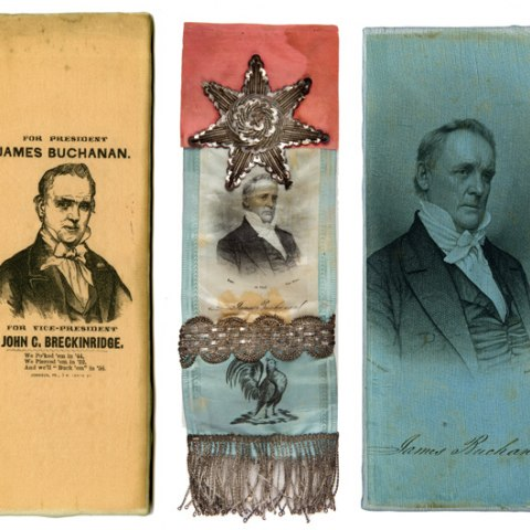 Three political ribbons with red, yellow, and blue colors, all showing illustrations of James Buchanan