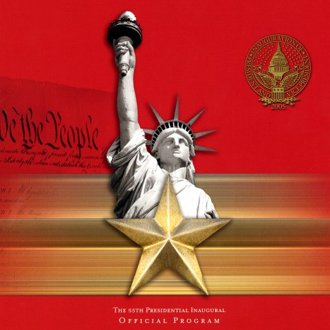 A red program for an inauguration with the statue of liberty and a golden star in the center