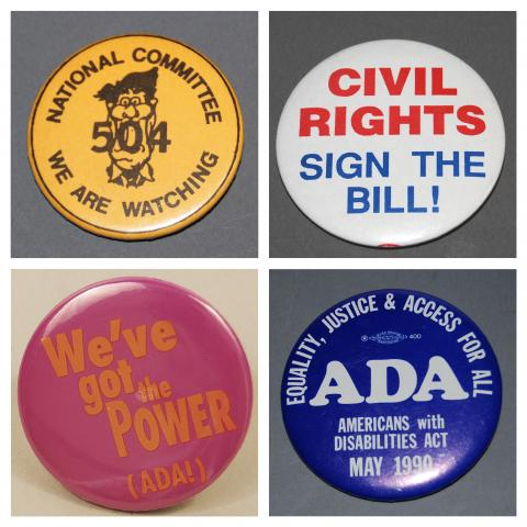 Collage of four ADA buttons described in this blog post