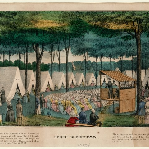 Color illustration showing many tall, white tents, a stage with a speaker, an audience of men and women. In the left side of the image, a woman tends a kettle on a fire.
