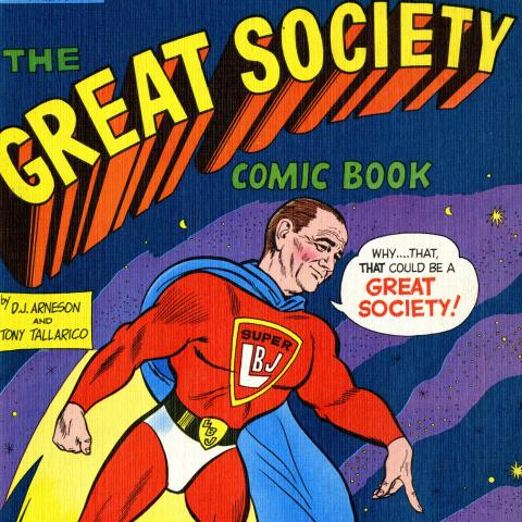 Pres. Johnson dressed as super hero