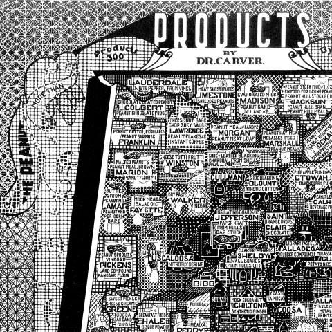"""Detail image of larger map. Black and white artwork depicting products of Alabama on a map of the state. Icons are included with the products. For example, """"paints"""" is next to a paint can."""" Other products include writing ink, instant coffee, spiced vinegar, mock cocoanut, breakfast foods, and peanut tofu sauce."""