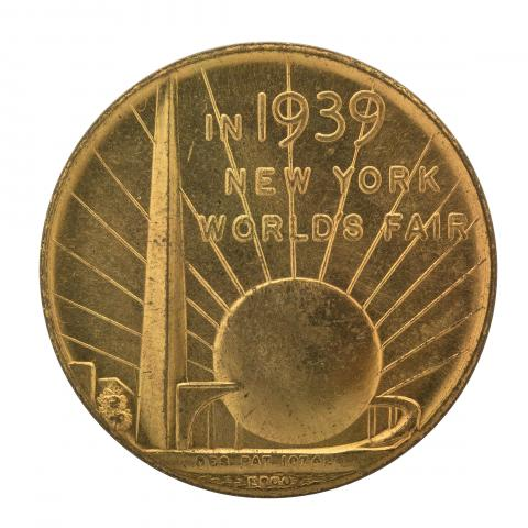 "Coin with ""1939"" and ""New York World's Fair"" on it"