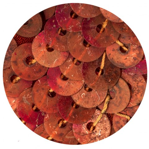 Close-up photo of red sequins, cropped to a circle