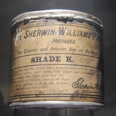 An early ready-mixed paint can at Sherwin-Williams in Cleveland, OH.