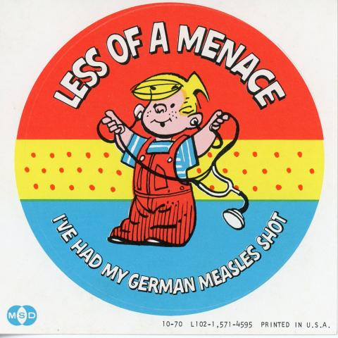 "Dennis the Menace with stethoscope and ""Less of a Menace"" text on button or sticker"