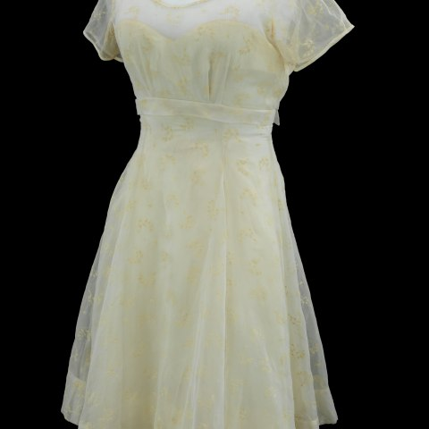 Light yellow and white dress, tea-length, short sleeves, scoop neck, delicate pattern