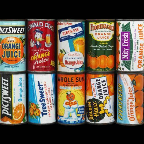 Orange juice cans