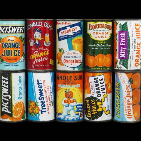 Orange juice cans