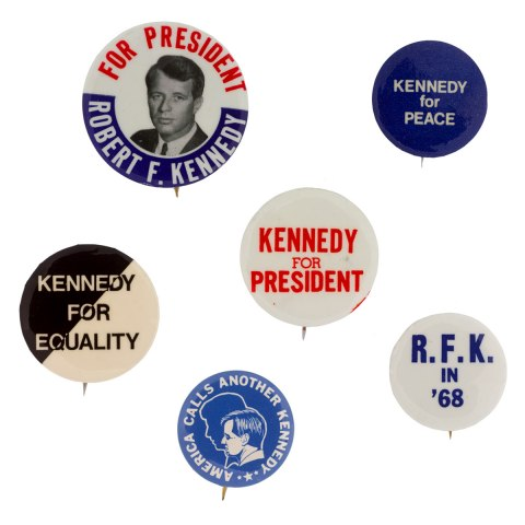 Political campaign buttons with slogans from Robert Kennedy's presidential campaign