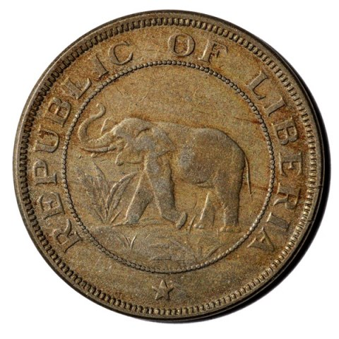 Coin with image of braying elephant