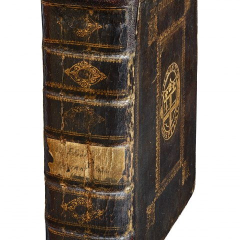Large hardcover book, mostly dark brown with gold-colored details.