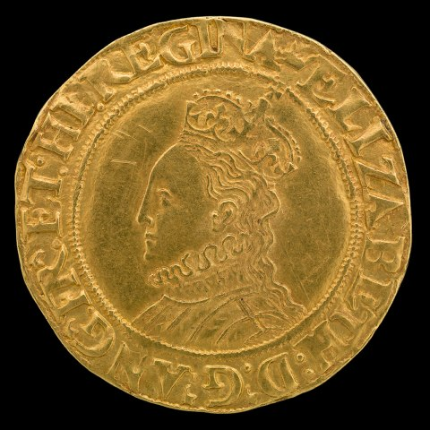 Photo of gold coin on black background. Woman's face in profile, facing left. On her head, a crown. High collar around her neck. Prominent forehead.