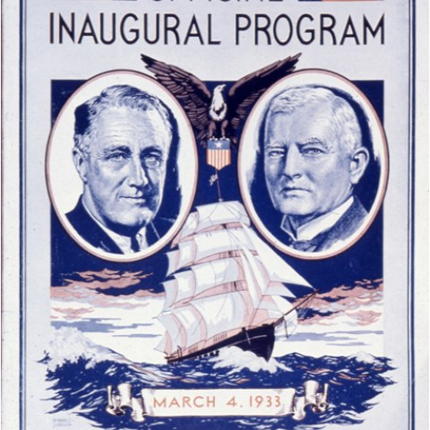 "Scan of document. Text: ""Official Inaugural Program."" Portraits of two men with an eagle in the center. An illustration of a boat with many sails cutting through gentle waves. Text: ""March 4, 1933."""