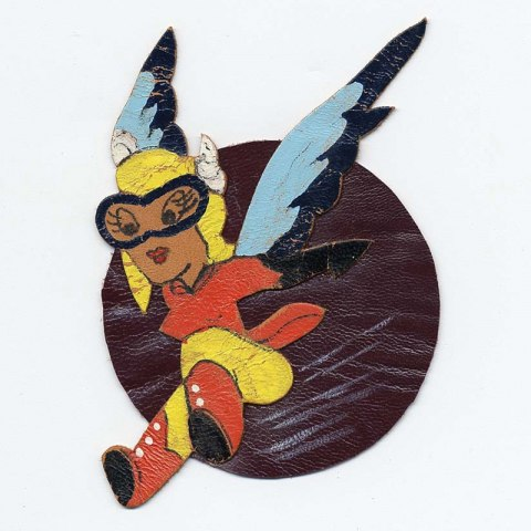 Patch with character of Fifinella—a winged woman wearing goggles, frozen mid-jump