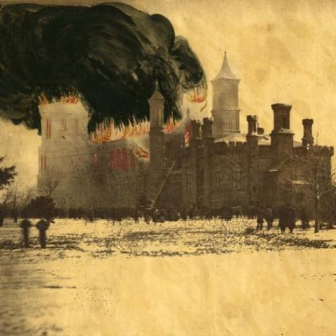 Image of Smithsonian castle with smoke and flames