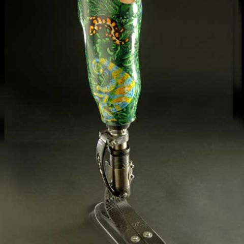 Colorful prosthetic foot with green swirls and a gecko image