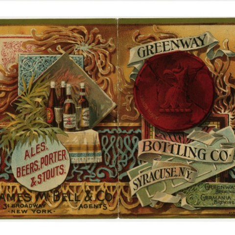 Illustrated advertisement for brewing companies. The design features illustrations of brown glass bottles, a cup, and lots of fancy scroll work as well as a red wax seal featuring a beer.
