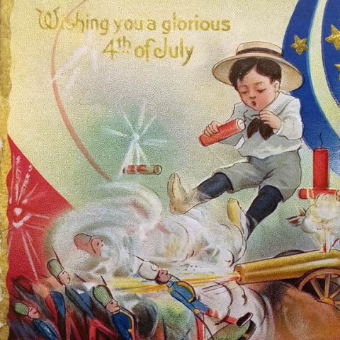 """Postcard-sized illustration in color featuring three children. Two little boys light fireworks and play with toy soldiers while a little girl covers her ears and clutches a doll. Text reads """"Wishing you a glorious 4th of July"""" in gold."""