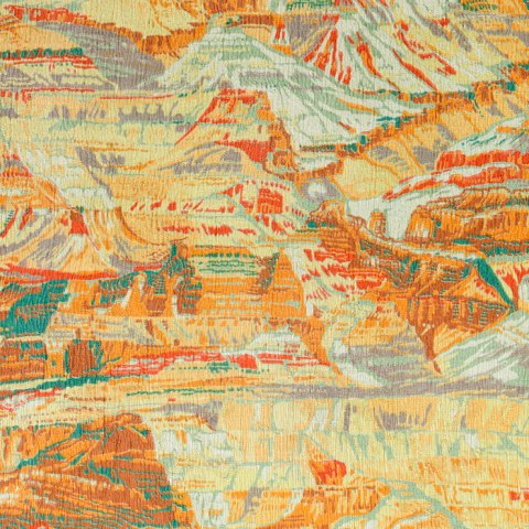 Silk with a pattern of the Grand Canyon. Bright orange, green, white and reds mimick the crags and dimensions of the famous natural canyon. The pattern goes in every direction to suggest rather than depict the Grand Canyon