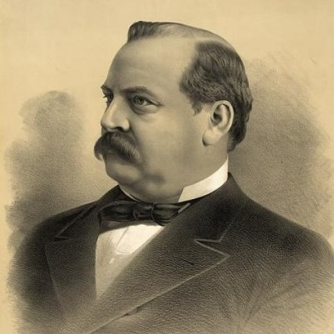 Black and white illustration on beige paper, showing portrait of man wearing suit and black tie with mustache and a stern/serious face. He is partially bald.