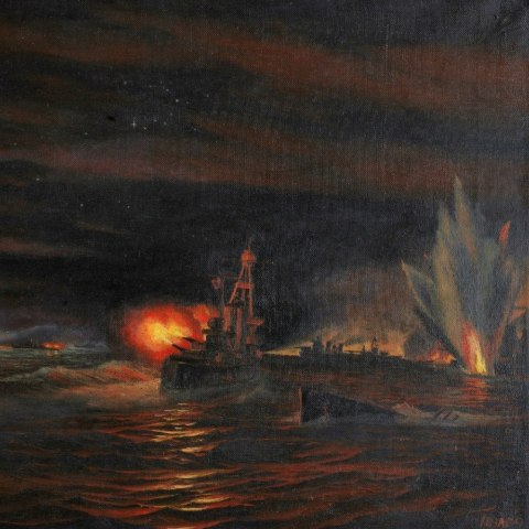 Painting of a dark, naval scene with explosions