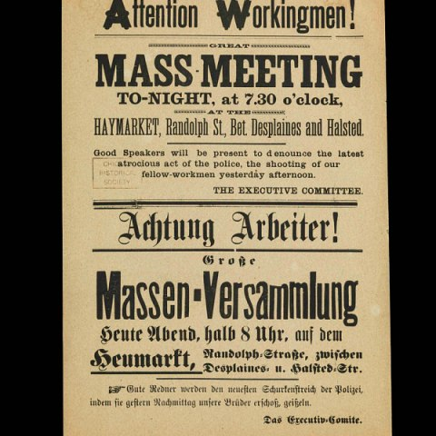 Broadside announcing mass meeting in Haymarket Square, 1886