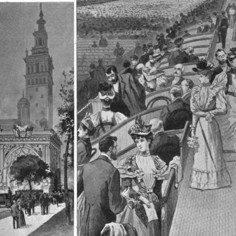 An illustration showing crowds of well-dressed people gathering beside their seats in Madison Square Garden, as well as crowds approaching the building from the outside