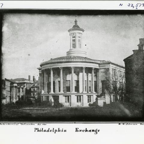Black and white photo of building