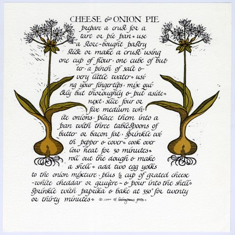A lithograph of a recipe for cheese and onion pie. The instructions are written in a calligraphic style and look more like a story than a recipe. There are illustrations of onions on the page with the text.