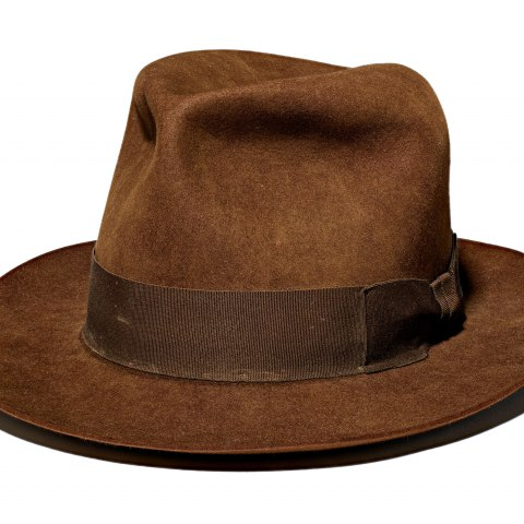 Brown fedora with brown ribbon band